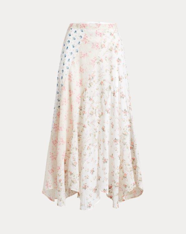 Floral-Pattern Cotton Skirt