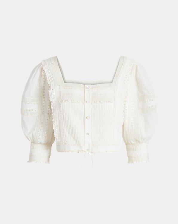 Lace-Trim Cotton Blouse