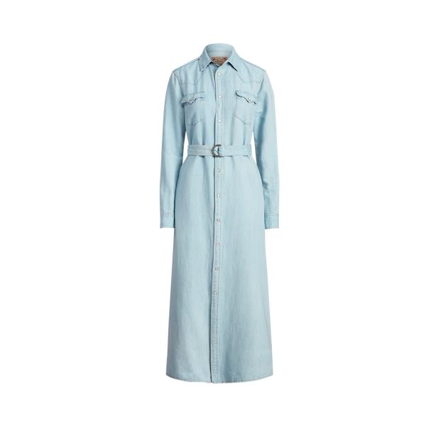 폴로 랄프로렌 Polo Ralph Lauren Denim A Line Shirtdress,Leaton Wash