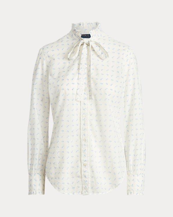Daisy Cotton Tie-Neck Shirt