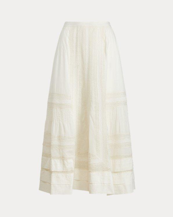 Lace-Trim Cotton Skirt