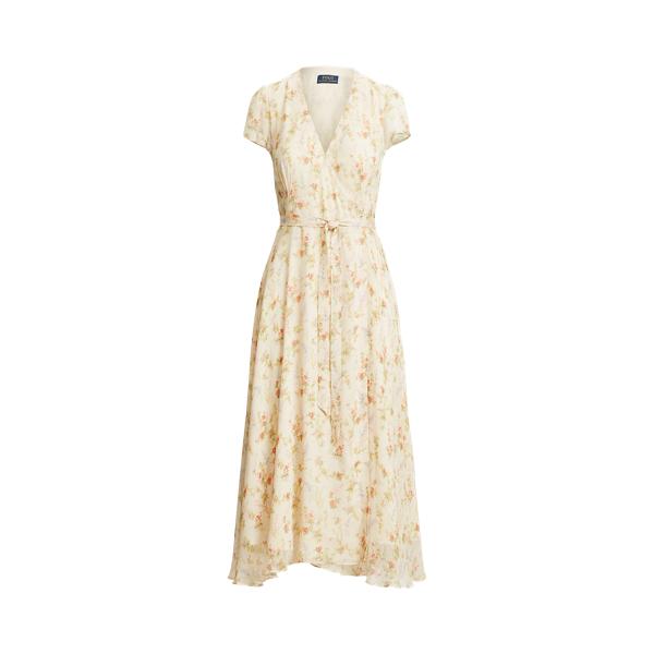 폴로 랄프로렌 Polo Ralph Lauren Floral Crinkled Wrap Dress,Watercolor Landscape