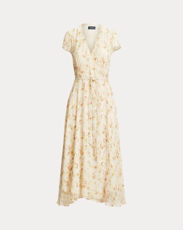 Floral Crinkled Wrap Dress