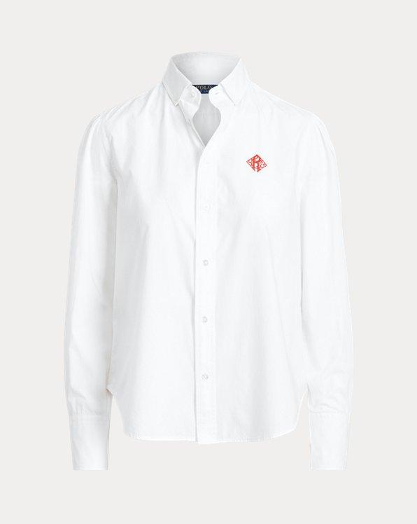 Embroidered-Monogram Cotton Poplin Shirt