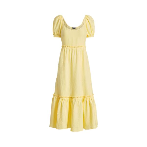 폴로 랄프로렌 Polo Ralph Lauren Linen Short Sleeve Dress,Bristol Yellow