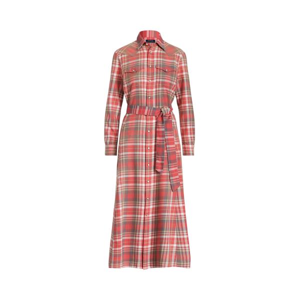 폴로 랄프로렌 Polo Ralph Lauren Plaid Cotton Shirtdress,Red/ White Multi