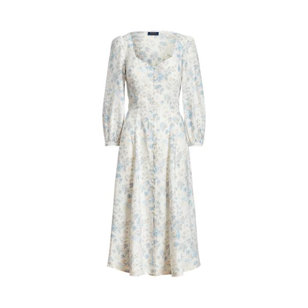 폴로 랄프로렌 Polo Ralph Lauren Floral Linen Midi Dress,Blue Floral Print