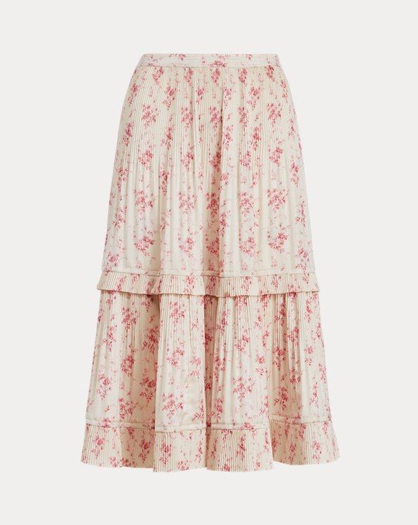 Floral Pleated Satin Skirt