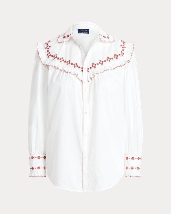 Ruffle-Trim Embroidered Cotton Shirt