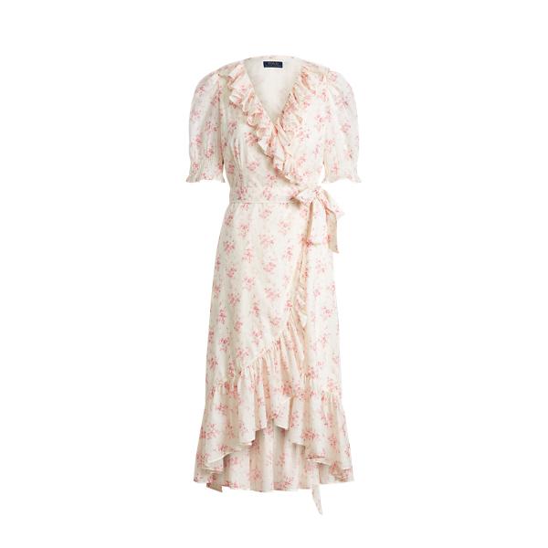 폴로 랄프로렌 Polo Ralph Lauren Floral Ruffle Trim Cotton Wrap Dress,Budding Red Floral