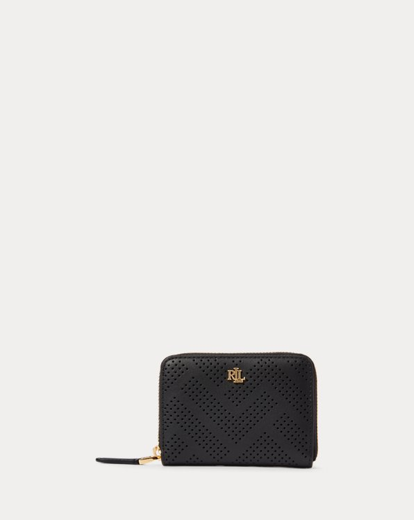 Perforated Leather Zip Wallet