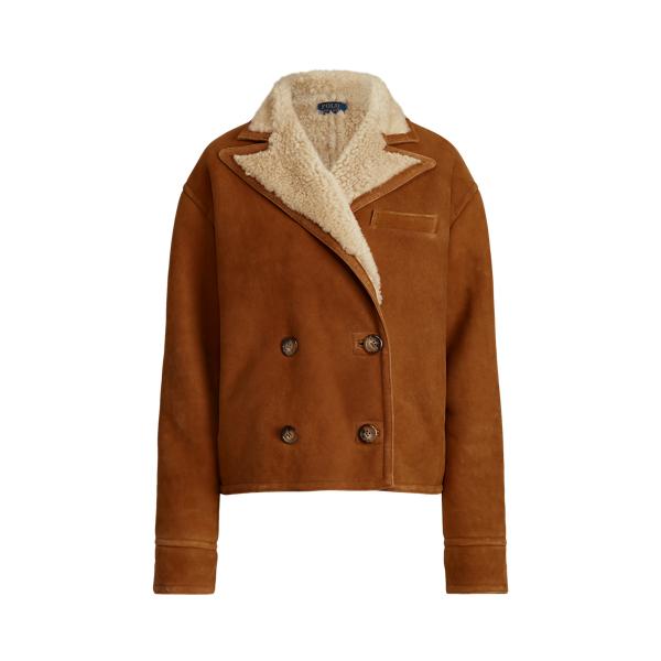 폴로 랄프로렌 우먼 시어링 더블 코트 Polo Ralph Lauren Shearling Double Breasted Coat,Brown/Cream