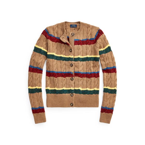 폴로 랄프로렌 우먼 스트라이프 꽈배기 니트 가디건 Polo Ralph Lauren Striped Cable Knit Cardigan,Camel Multi Stripe