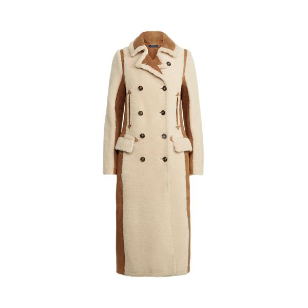 폴로 랄프로렌 우먼 스웨이드 시어링 롱 코트 Polo Ralph Lauren Suede Panel Shearling Long Coat,Tan/Cream