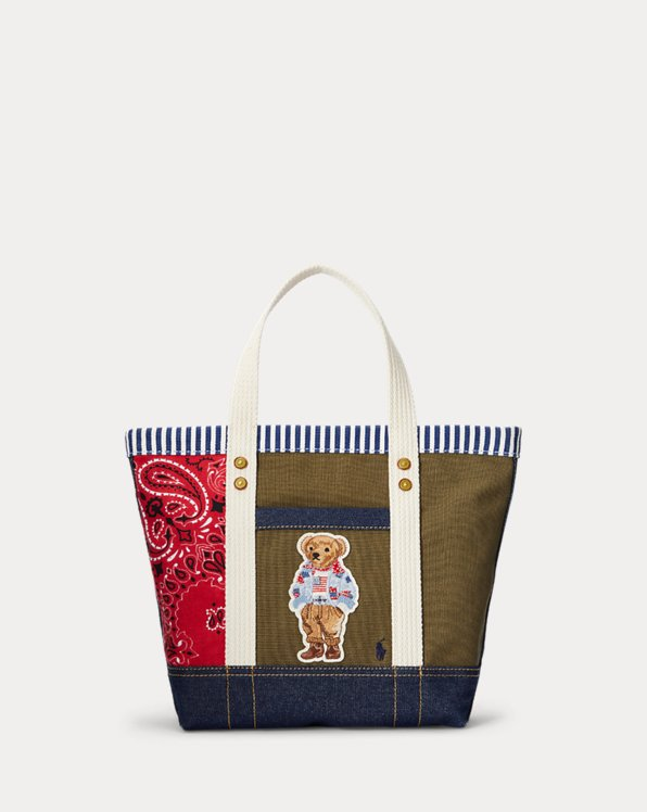 Patchwork Polo Bear Small Tote