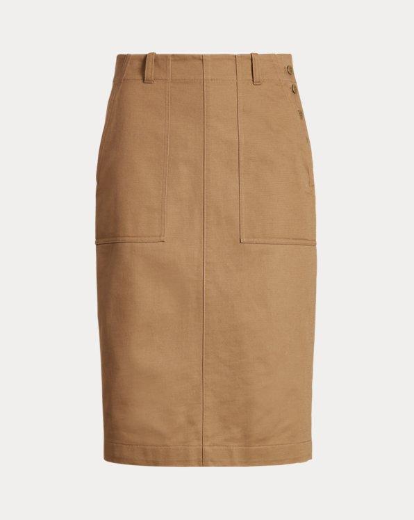 Buttoned-Placket Skirt