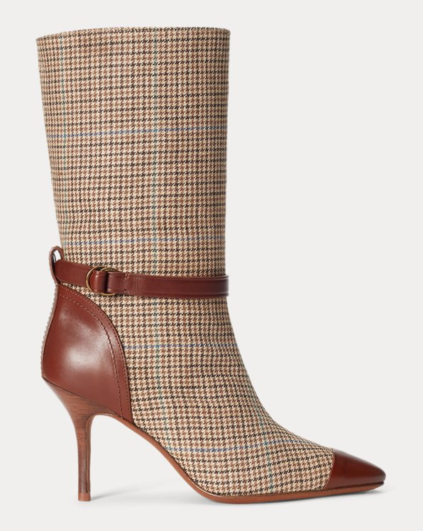 Leather-Trim Houndstooth Boot