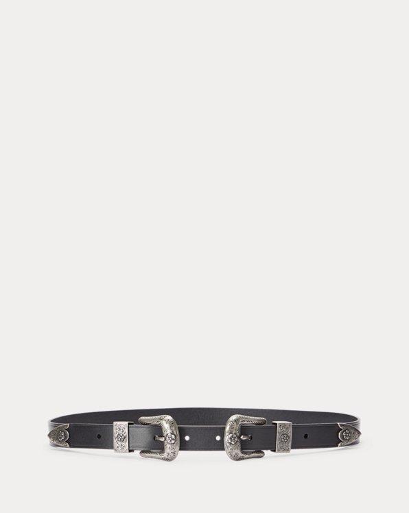 Western Leather Double-Buckle Belt