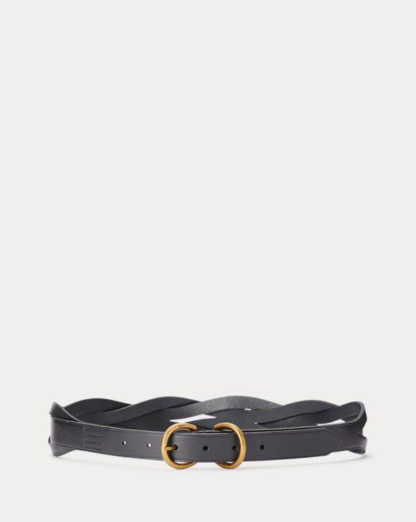 Braided-Back Calfskin Belt