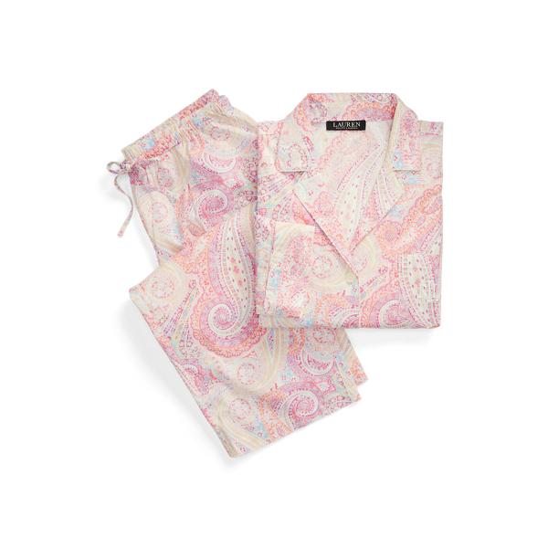 Lauren Paisley Cotton Capri Sleep Set,Pink Paisley