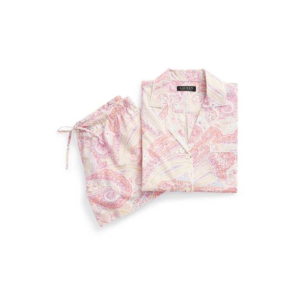 Lauren Paisley Boxer Pajama Set,Pink Paisley