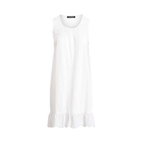 Lauren Eyelet Cotton Sleeveless Nightgown,White