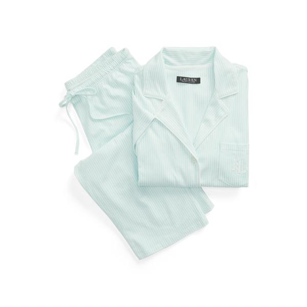 Lauren Striped Dolman Sleeve Capri Sleep Set,Turquoise Stripe