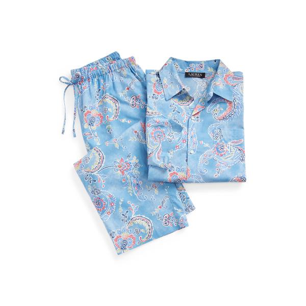 Lauren Ralph Lauren Paisley Cotton Capri Sleep Set In Blue