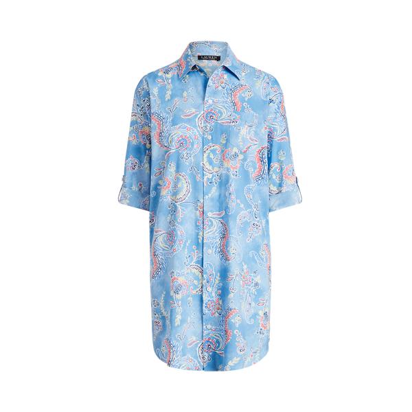 Lauren Ralph Lauren Paisley Cotton-blend Sleep Shirt In Blue Paisley