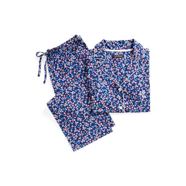 Lauren Ralph Lauren Floral Cotton-blend Capri Sleep Set In Blue