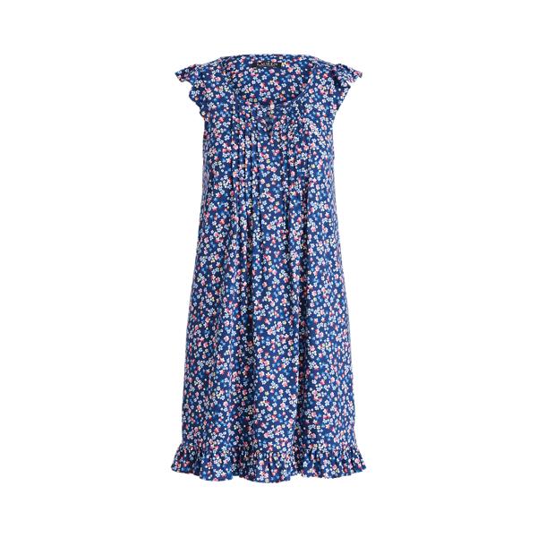 Lauren Ralph Lauren Floral Flutter-sleeve Nightgown In Navy Print