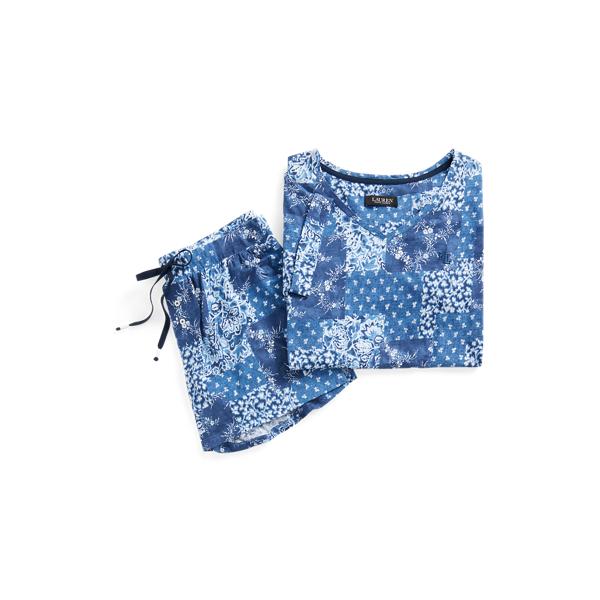 Lauren Ralph Lauren Patchwork Boxer Pajama Set In Blue Patchwork