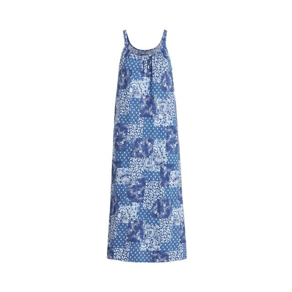 Lauren Ralph Lauren Patchwork Sleeveless Nightgown In Blue