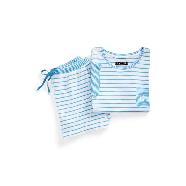 Lauren Ralph Lauren Mixed Stripe Boxer Pajama Set In Blue