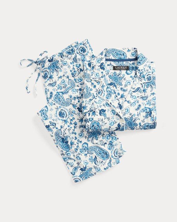 Paisley Cotton-Blend Capri Sleep Set
