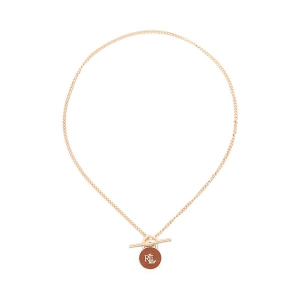 Lauren Ralph Lauren Gold-tone Logo Leather Padlock Necklace