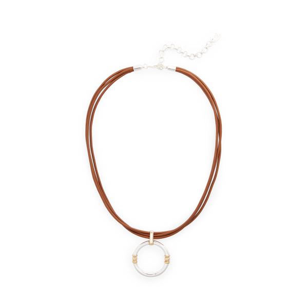 Lauren Ralph Lauren Leather Link Pendant Necklace In Brown