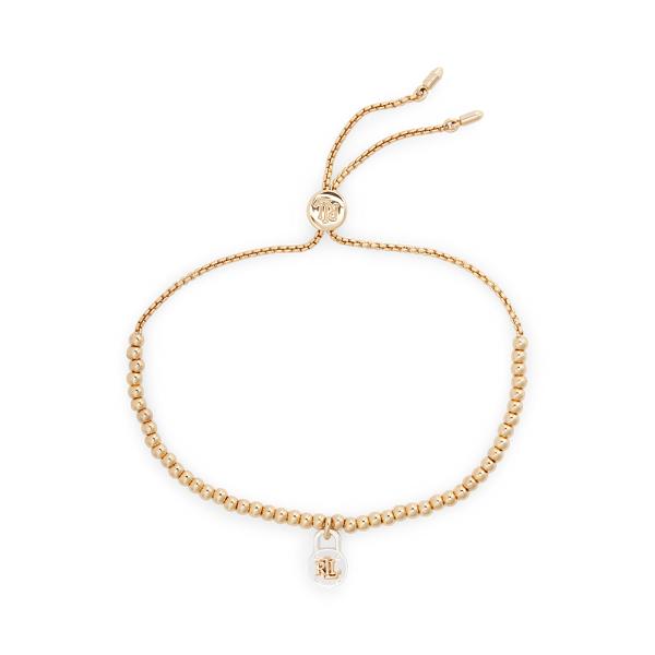 Lauren Ralph Lauren Two-tone Padlock Slider Bracelet In Gold