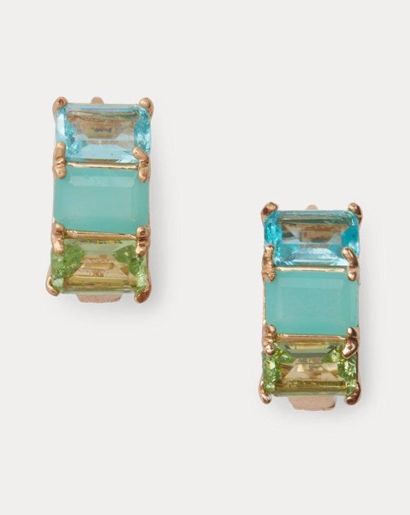 Gold-Tone Stone Huggie Earrings