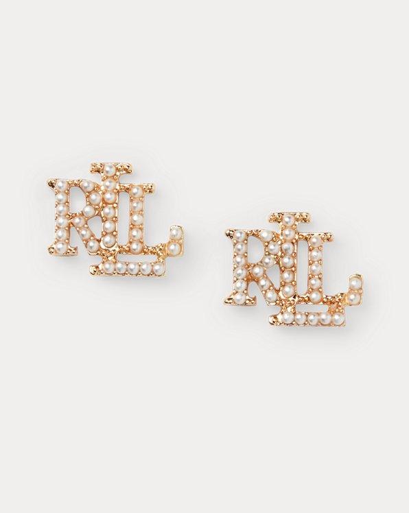 Gold-Tone Logo Faux-Pearl Earrings