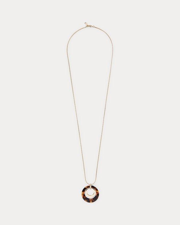 Gold-Tone Tortoiseshell Pendant Necklace