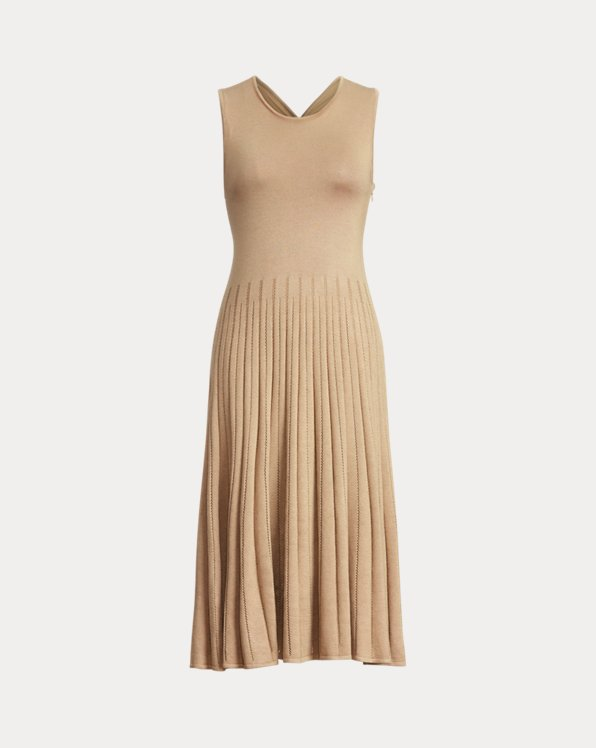 Pleated Pointelle Crewneck Day Dress