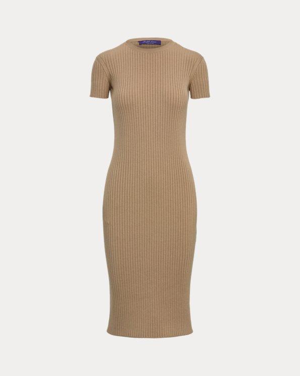 Wool-Silk Cap-Sleeve Sweater Day Dress