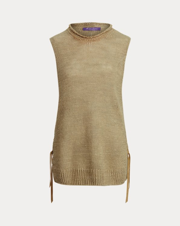 Suede-Laced Sleeveless Mockneck Sweater