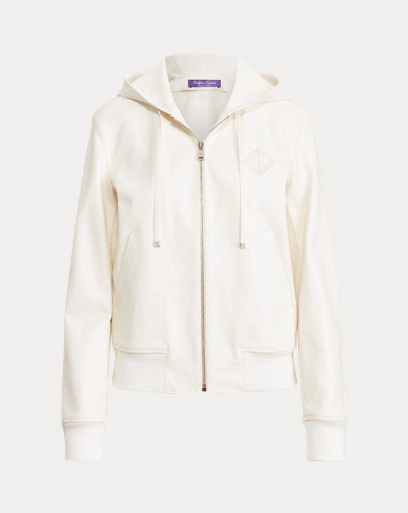 Taryn Embossed Goatskin Zip-Front Jacket