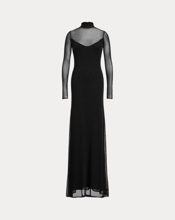Long-Sleeve Turtleneck Evening Dress