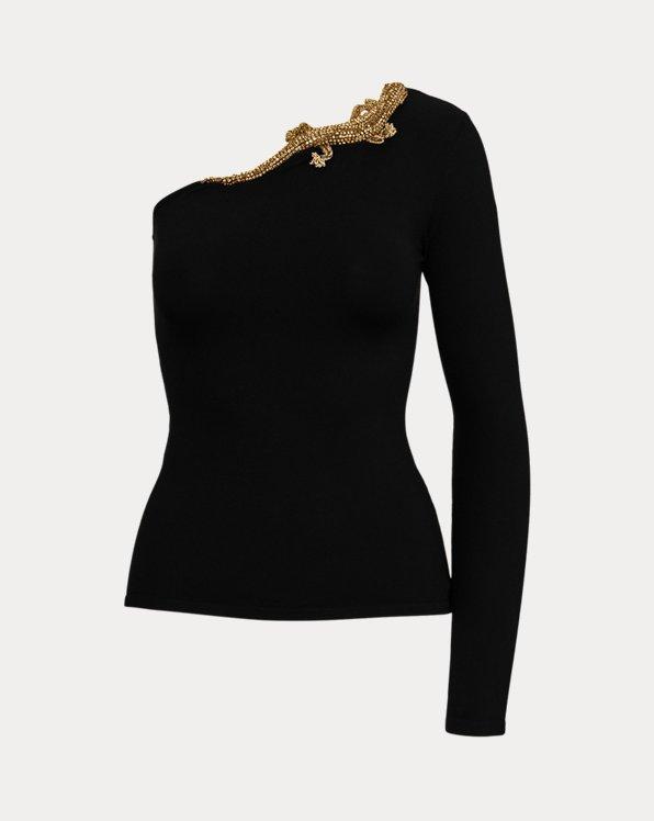 Embellished Gecko One-Shoulder Sweater