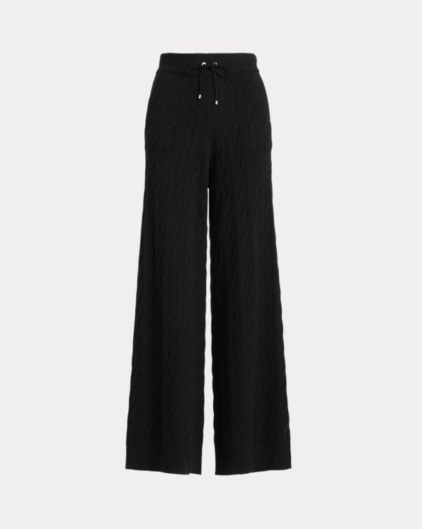 Cable-Knit Cashmere Palazzo Pant