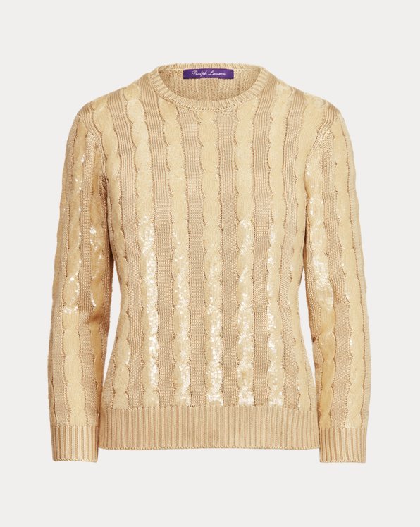 Sequined Silk Crewneck Sweater