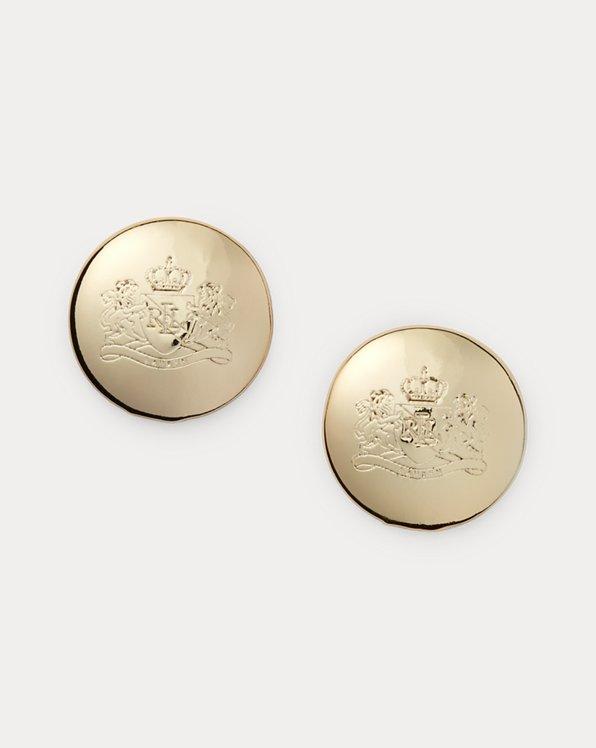 Gold-Tone Crest Stud Earrings